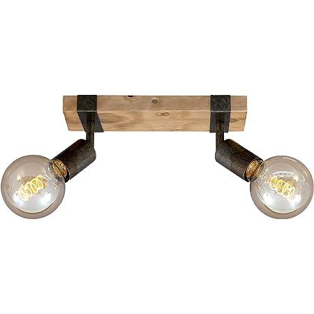 Briloner Leuchten - Spot, plafonnier rétro, plafonnier vintage, spots orientables et pivotants, 2x E27, métal-bois, couleur : gunmetal, 280x100x90mm (Lxlxh)