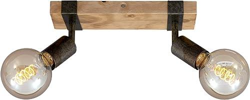 Briloner Leuchten - Spot, plafonnier rétro, plafonnier vintage, spots orientables et pivotants, 2x E27, métal-bois, c...