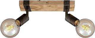 Briloner Leuchten - Spot, plafonnier rétro, plafonnier vintage, spots orientables et pivotants, 2x E27, métal-bois, couleu...