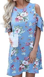 Backless Lace Up Summer Dress Women Flare Sleeve Floral Print Chiffon Dress Beach Casual Short Dress
