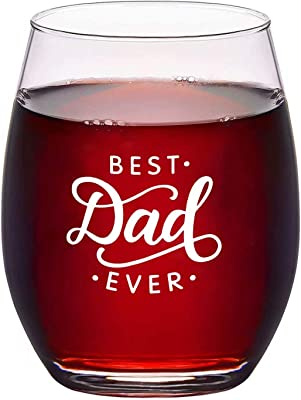 Best Dad Ever Stemless Wine Glass 16 Oz, Father Wine Glass for Men Father Dad New Dad Husband, Dad Wine Glass Idea for Father's Day Birthday Christmas