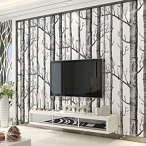 FAMILIE TOOLS & WALLTREATMENTS STICKERS JJRKYY Nordic stijl modern minimalistisch woonkamer zwart-wit berkenbos non-woven TV achtergrond behang