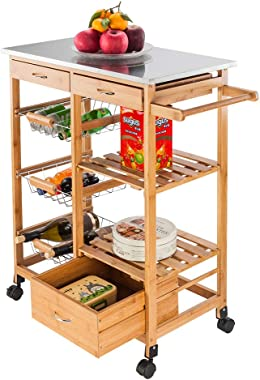 Simply-Me Kitchen Cart Wood Kitchen Island Portable Rolling Storage Dining Cart Stainless Steel Top with 3 Drawers,3 Baskets,2 Shelf,4 Spinner Wheels,Burlywood