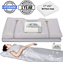 VANELL Sauna Blanket Upgraded Version Far-Infrared Digital Heat Sauna Heating Blanket, 2 Zone Controller with 50pcs Plastic Sheetings, to Reduce Weight Thin Body Home Beauty