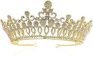 Dongyu Corona, Copricapo, Abito da Ballo Bellezza Pagina Copricapo da Sposa Cristallo Strass Principessa (Color : Gold)