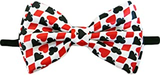 Mens Playing Cards Gambling Casino Bowtie - White - One Size Bow Tie