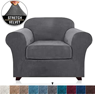 Real Velvet Stretch Chair Covers 2 Piece Armchair Cover Slipcovers - Include Base Cover and Cushion Cover - Sofa Covers Couch Covers 1 Seater Chair Slip Cover, Feature Thick Soft Velour, Grey