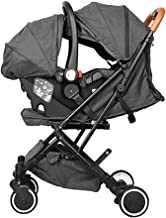 ZJPP Baby Stroller 4 in 1, Modular Travel System, Newborn Cradle Type Child Safety Seat Baby Carriage Basket Baby Cart,Gray