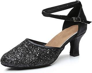 GetMine Womens Latin Dance Shoes Heeled Ballroom Salsa Tango Party Sequin Dance  Shoes 314eb9f1b31b