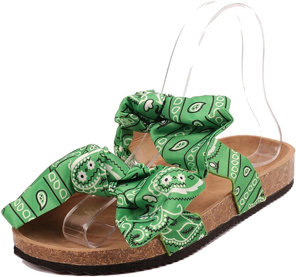 Edgchic Women Slip-On Knot Bow Flat Slide Sandals Casual Beach Outdoor Travel Summer Shoes