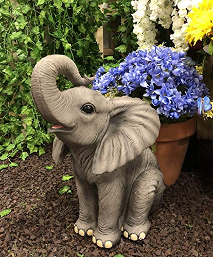 Ebros Ruby The Elephant Sitting Pretty with Trunk Up Large Statue 17' Tall Circus Carnival Elephants Fortune Feng Shui Vastu Good Luck Figurine Home Decor Sculpture