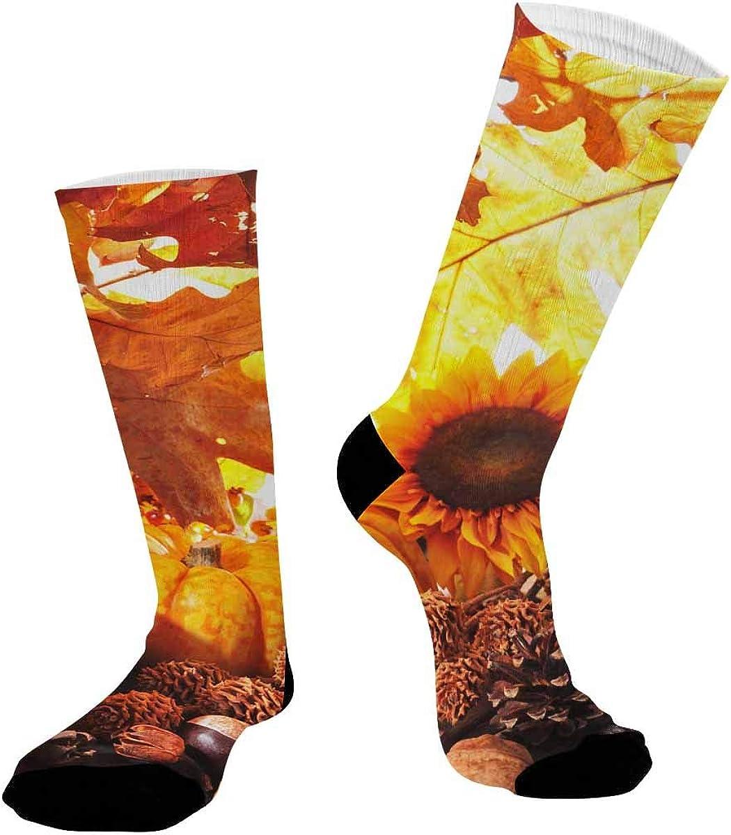 INTERESTPRINT Casual Sublimated Crew Socks Unisex Pumpkin Nut Leaves