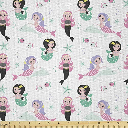 Lunarable Mermaid Fabric by The Yard, Different Mermaids Dolphin Fish Starfish Cheerful Cartoon Girls Kids Design, Microfiber Fabric for Arts and Crafts Textiles & Decor, 1 Yard, Teal Pink