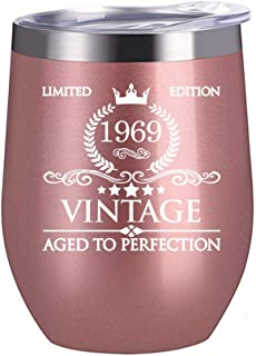1969 50th Birthday Gifts for Women Men - 12 oz Stainless Steel Wine Glass Tumbler with Lid Party Decorations Supplies - Funny 50th Birthday Gift Ideas for Him Her Husband Wife Mom Dad