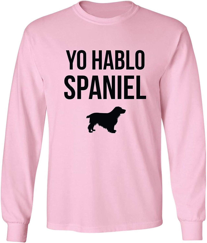 Yo Hablo Spaniel Adult Long Sleeve T-Shirt in Pink - XXXX-Large