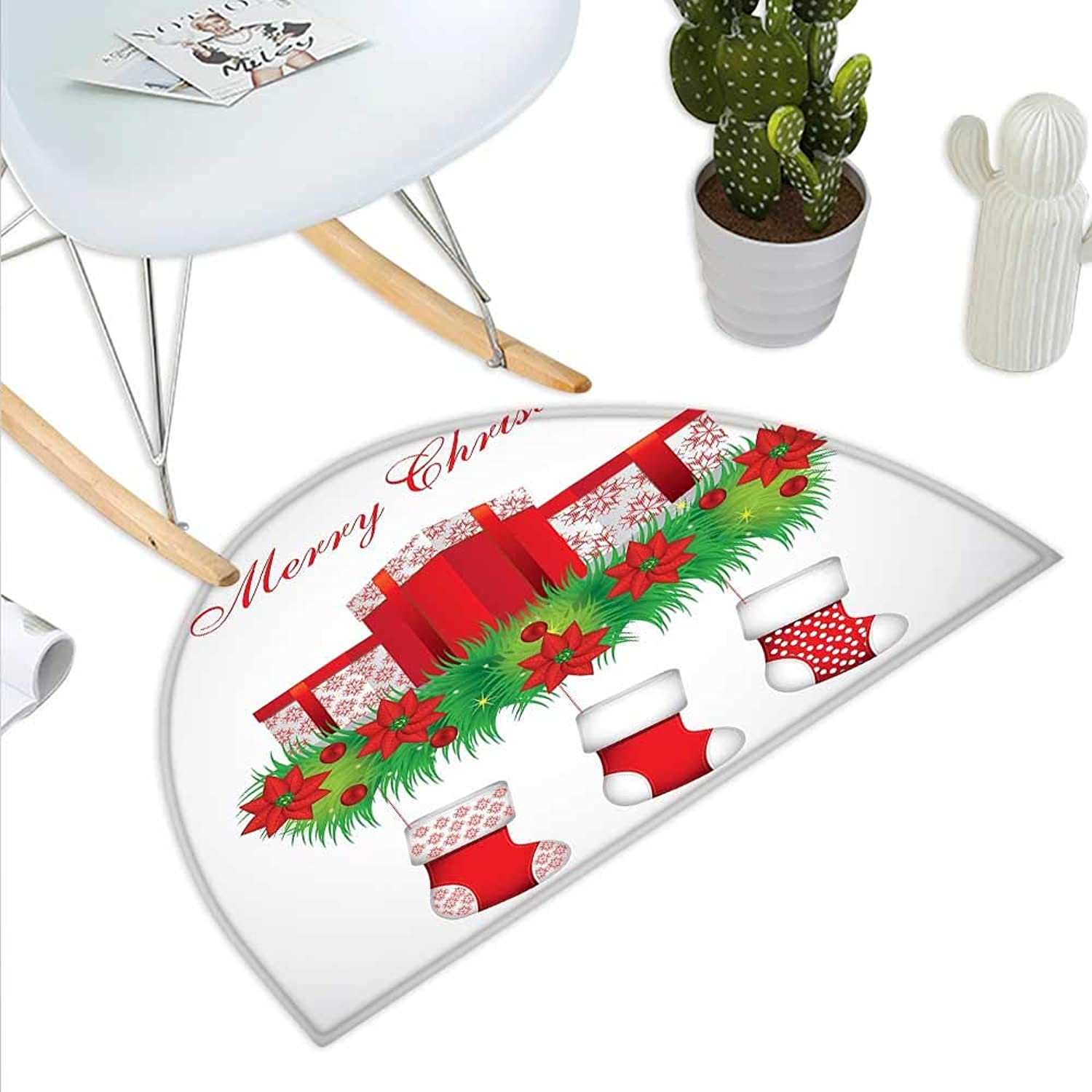 Christmas Semicircle Doormat Stockings Hanging for Santa Mistletoe Illustration Merry Christmas for All Halfmoon doormats H 47.2  xD 70.8  Red Emerald White