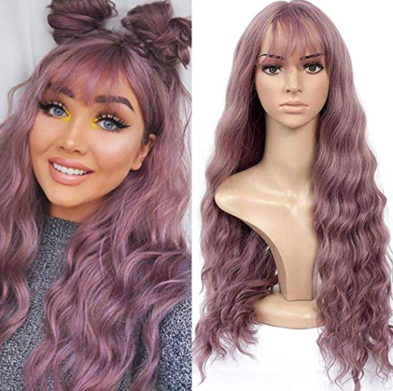 女性かつら実体波150%密度ブラジル毛ウィッグパープル65 cm