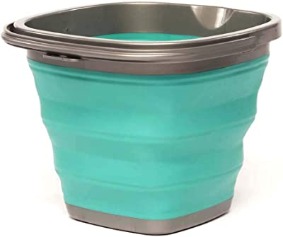 HOMZ Store N Stow(TM) 10 Liter Square Bucket with Handle, Grey and Teal Collapsible Storage, Set of 12, 12 Pack