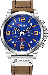 CURREN Luxury Brand Men Military Stopwatch Waterproof Leather Chronograph Watch Mens Fashion Quartz Watch (Silver Blue)