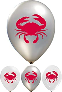 Crab Balloons - 12 Inch Latex - 2 Sided Print (16 Count) for Birthday Parties or Any Other Event Use - Fill with Air or Helium