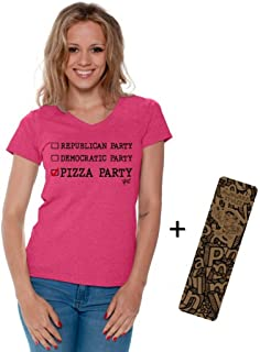 Awkwardstyles Republican Democratic Pizza Party Vneck T-Shirt Black + Bookmark