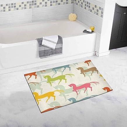 Motley Horses Decor Non Slip Bath Rug Mat Absorbent Bathroom Floor Mat Doormat