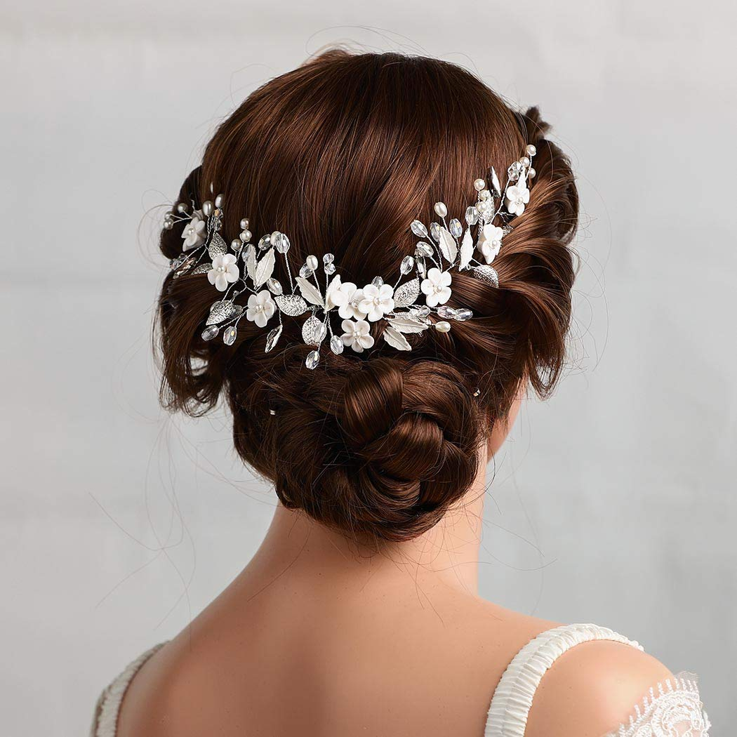 Asooll Bride Challenge the lowest price Wedding Hair Vine Headban Leaf Bridal Flower sold out Silver