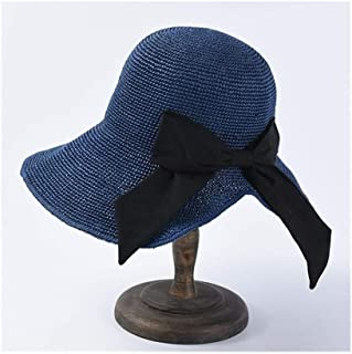 Summer Sun hat Female Hand Hook Foldable Sun Visor Japanese Bow Big Straw hat Holiday Beach hat` TuanTuan (Color : Navy)