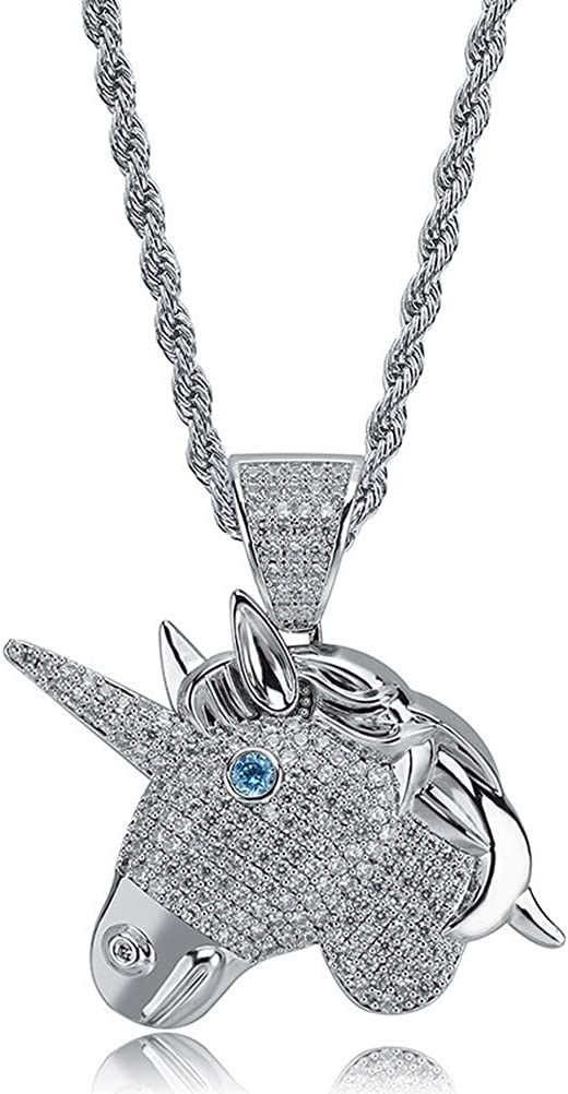 Moca Jewelry Hip Hop Iced Out Bling Unicorn Pendant 18K Gold Plated Chain Necklace for Men Women