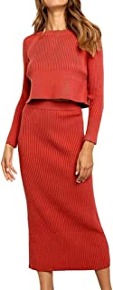 Henwerd Women's Fashion Solid High-Waist Vintage Skirt Polyester Mid-Calf Casual Slim Straight Skirt