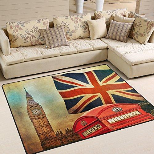 Use7 - Alfombra vintage de Londres con bandera del Reino Unido, para sala de estar o dormitorio, 203 cm x 147,3 cm