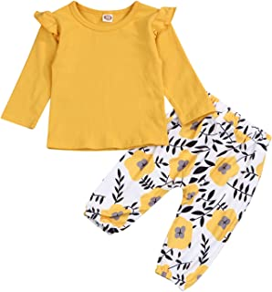 YOUNGER TREE Kids Newborn ToddlerBaby Girls Fall Outfits Ruffle Long Sleeve T-Shirt+Floral Print Pants Winter Clothes Set (Yellow, 6-12 Months)
