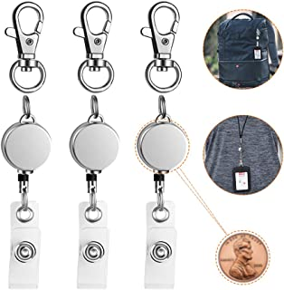 "Retractable Badge Holder 3 Pack, Lightweight Metal ID Badge Clip Reel with 14.5"" Nylon Cord for Nurse Teacher on Name Card Tag Holder"