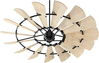 Quorum 97215-69 Indoor Windmill Ceiling Fan in Noir with Weathered Oak Blades