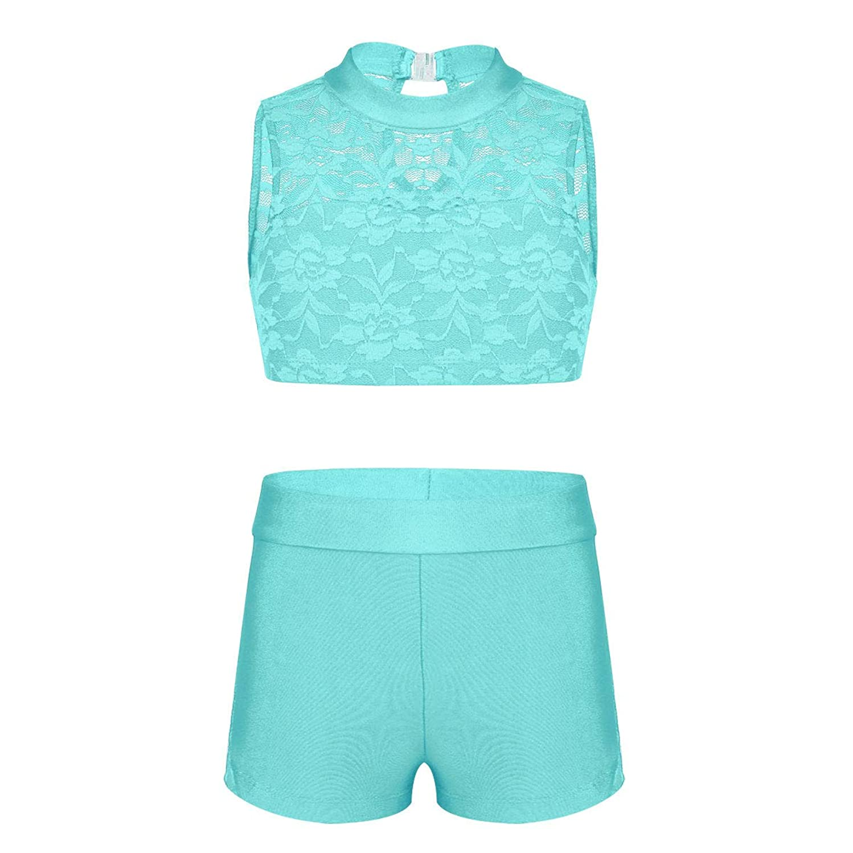 CHICTRY Child Girls Activewear Sequins Mermaid Tank Top & Shorts Set for Gymnastics Leotard Dancing