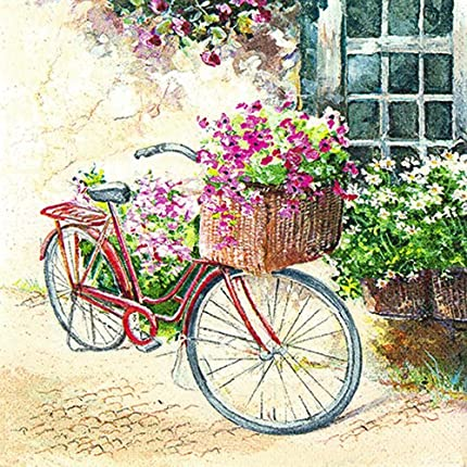 Set de 20servilletas con diseño bicicleta de flores, estilo vintage, 33x 33cm