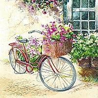 20 servilletas de papel de flores o - // bicicleta de diseño de flores de bicicleta con diseño de flores de la vendimia/33 x 33 cm