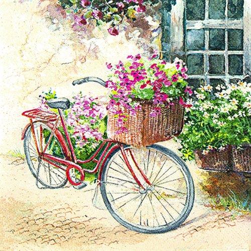 20 Servietten Flowerbike – Blumenfahrrad/Blumen/Fahrrad/Vintage 33x33cm