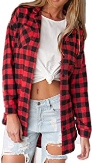 Women's Casual Loose Long Sleeve Plaid Flannel Blouse Shirt