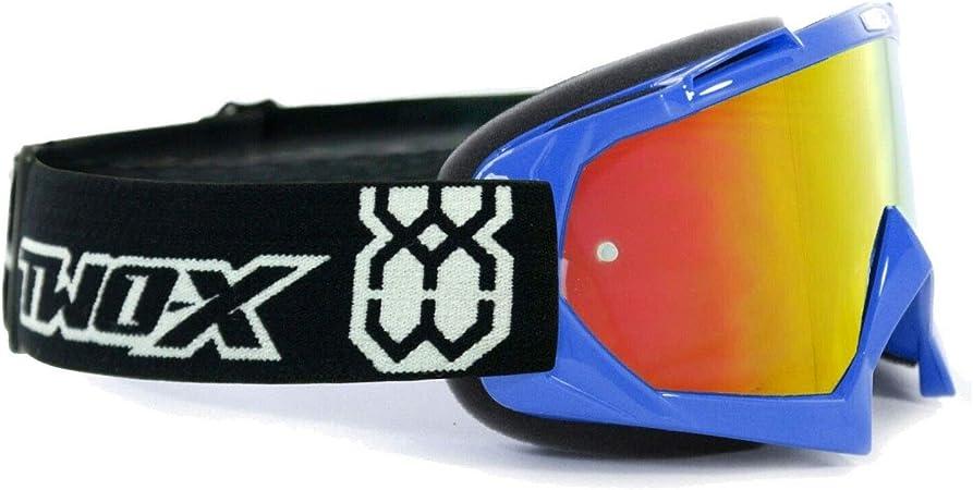 Two X Race Crossbrille Blau Glas Verspiegelt Iridium Mx Brille Motocross Enduro Spiegelglas Motorradbrille Anti Scratch Mx Schutzbrille Auto