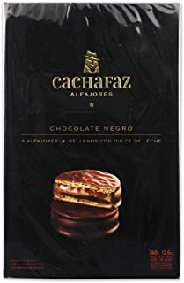 Cachafaz Alfajor Negro-Chocolate Sandwich Cookie Filled with Dulce de Leche :6 Units