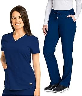 Grey's Anatomy V-Neck Top Bundle with Straight Leg Pant Medical Scrub Set for Women