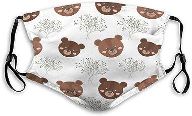 Xunulyn Unisex Mouth Shield Reusable Face Shield Brown Bear Animal Sports Shield