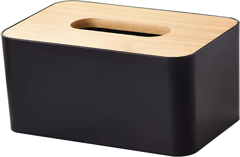 Caja Pañuelos, Dispensador de Pañuelos con Tapa de Madera, Caja de Pañuelos Cosméticos 21 x 13 x 10 cm para el Baño de la Oficina en Casa (Negro)