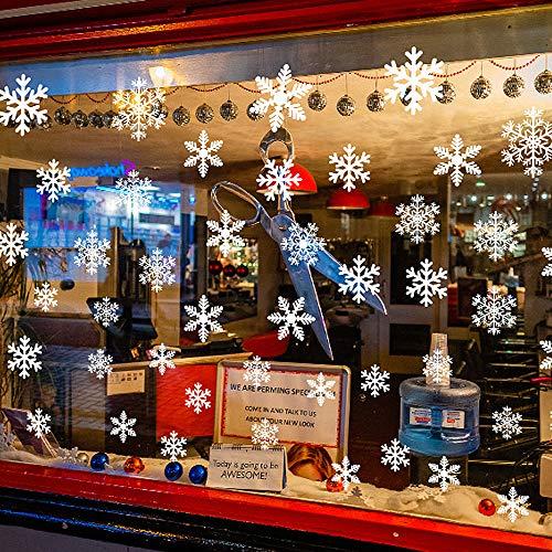 LattCURE - Adesivi per finestre di Natale, 10 fogli in PVC, riutilizzabili, bianchi, fiocchi di neve, adesivi per finestre, autoadesivi