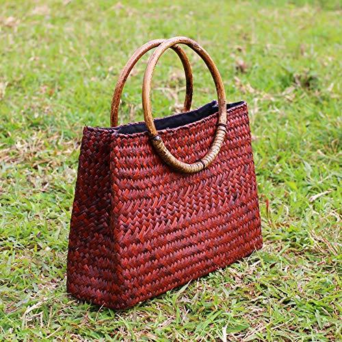 Handtasche, Handgemachte Stroh Rattan Baumwolle Leinen Tee Rohr Runde Tasche Größe: 24 * 10 * 18cm,Jujube