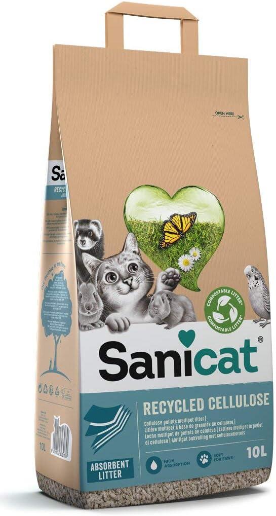 arena para gatos de celulosa