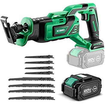 """KIMO 20V 4.0Ah Li-ion Brushless Cordless Reciprocating Saw w/Battery & 1 Hour Fast Charger, 1"""" Stroke Length, Variable Speed, 8 Saw Blades for Wood/Metal/PVC Pipe Cutting, Demolition, Tree Trimming"""