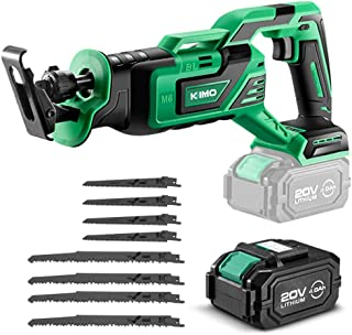 KIMO 20V 4.0Ah Li-ion Brushless Cordless Reciprocating Saw w/Battery & 1 Hour Fast Charger, Stepless Variable Speed, 1