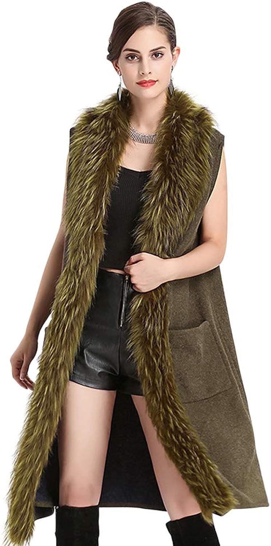 Tortor 1bacha Lady's Fashion Autumn Winter Warm Long Faux Fur Vests